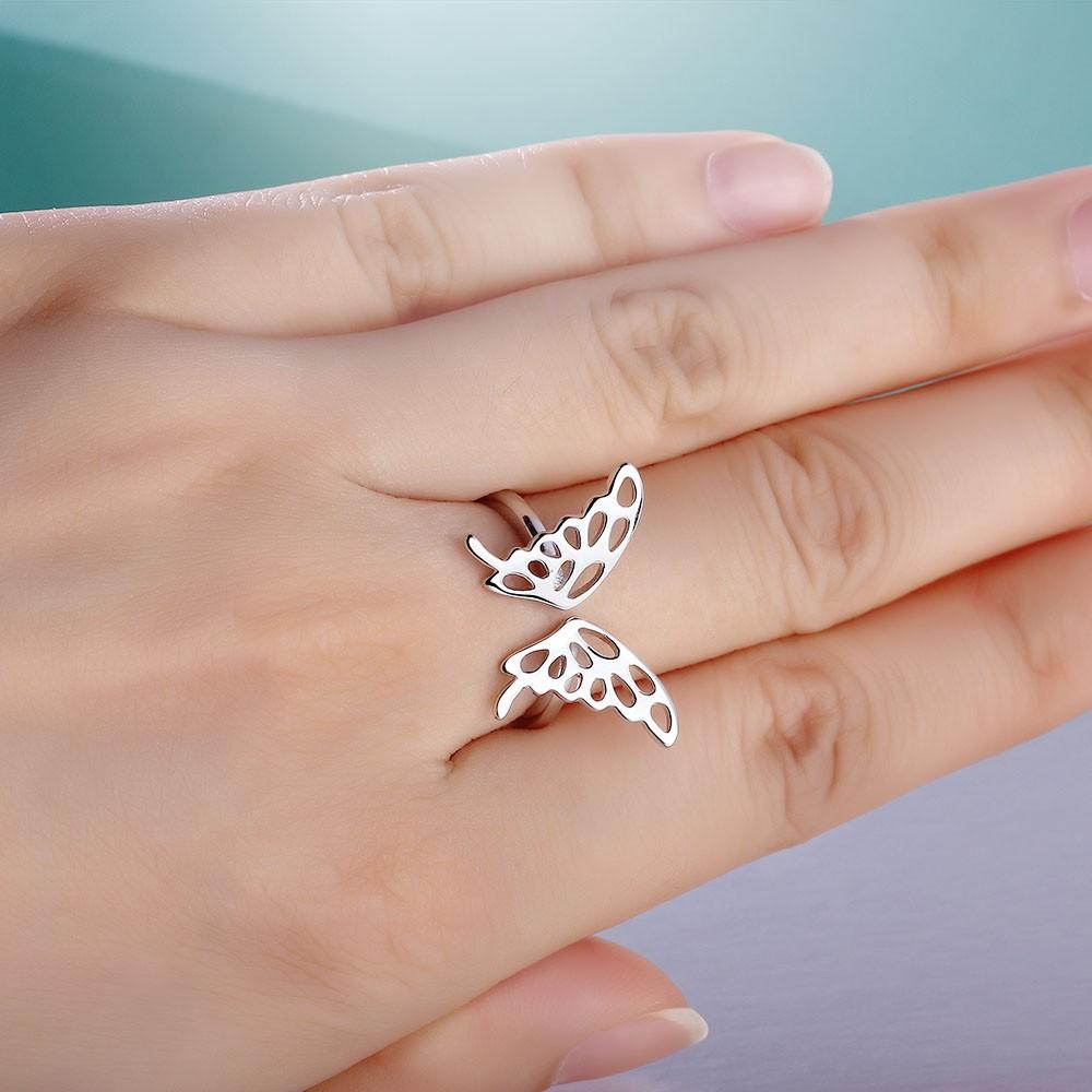 خاتم فضة شكل فراشة 7