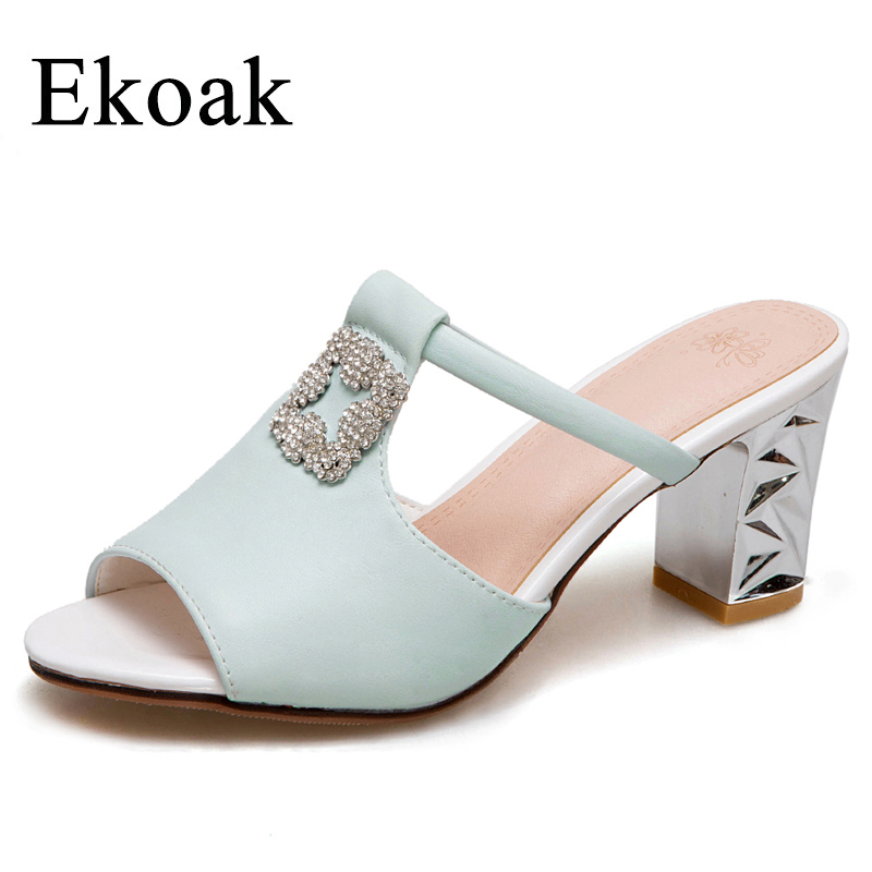 Ekoak New 2018 Summer Shoes Woman Fashion Women Sandals Crystal Party Shoes Ladies Sexy Cut-outs High Heels Sandals morazora 2018 new high quality cut outs women s summer boots high heels knee high women sandals solid color ladies shoes woman