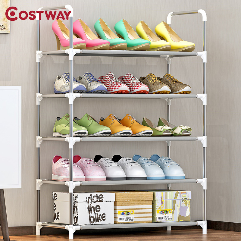 COSTWAY 5-Tier Non-woven Shoes Rack Shoe Cabinets Stand Shelf Shoes Organizer Living Room Bedroom Storage Furniture W0249 12 grid diy assemble folding cloth non woven shoe cabinet furniture storage home shelf for living room doorway shoe rack