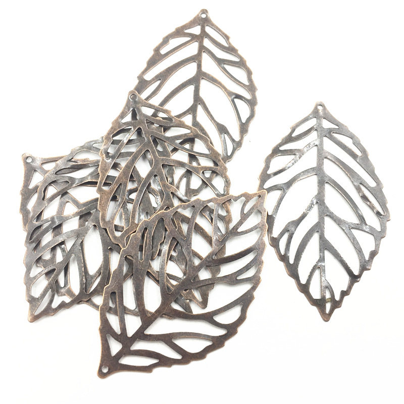 10Pcs Decoration Ornament Embelishment Copper Tone Leaf Leaves Filigree Alloy Purse Bag Jewelry DIY Findings 54mm
