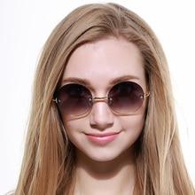 Nuevas Mujeres Gafas Sin Montura gafas de Sol De Las Mujeres Polaroid Espejo Redondo de Aleación de Metal de La Vendimia Gafas de sol gafas Oculos Feminina