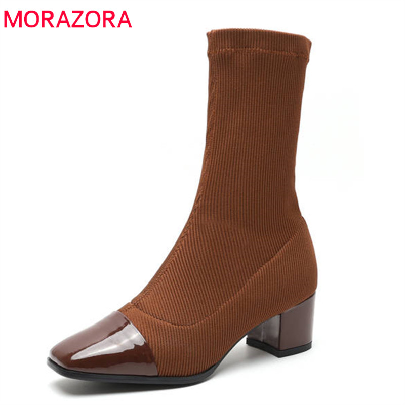 MORAZORA 2018 high quality patent leather ankle boots for women square toe Stretch socks boots high heels autumn shoes female цены онлайн