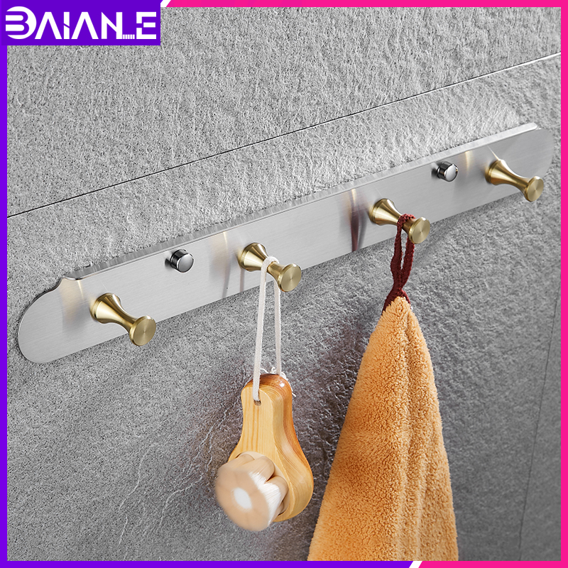 Robe Hooks Stainless Steel Bathroom Hook for Towels Key Bag Decorative Clothes Coat Rack Black Wall Mounted Storage Hanger