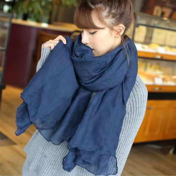 2019 New Arrival Navy/Royal/Sky Blue Color Cotton Women Scarf Fashion Long Ladies Scarves Solid Hijabs Female - discount item  35% OFF Scarves & Wraps