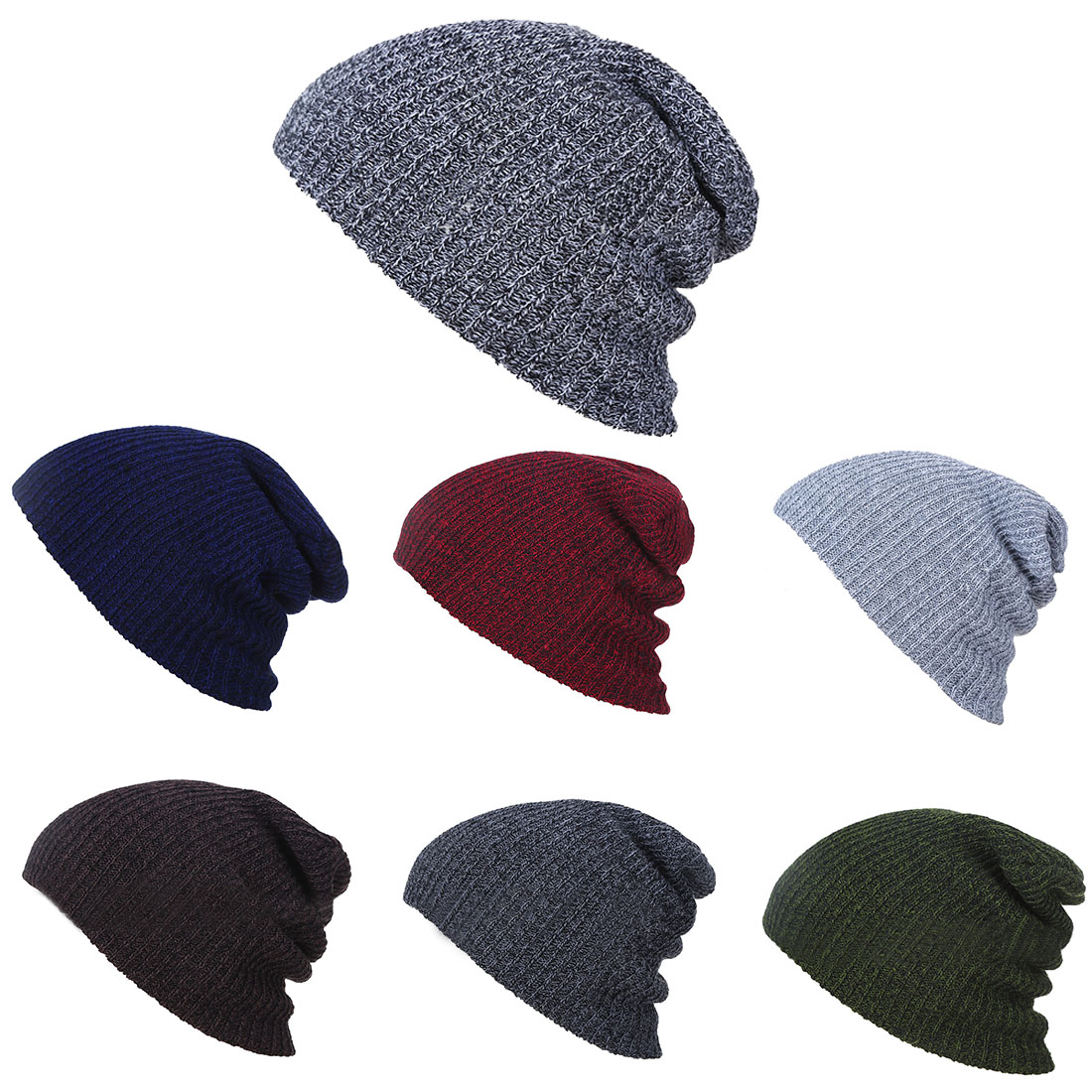 Knit Men's Baggy Beanie Oversize Winter Warm Hats Slouchy Chic Crochet Knitted Cap For Women Girl's Hat Thick Female Cap winter women beanie skullies hiphop hats warm knitted hat baggy crochet cap femme crumpled elastic scarf hat dual purpose