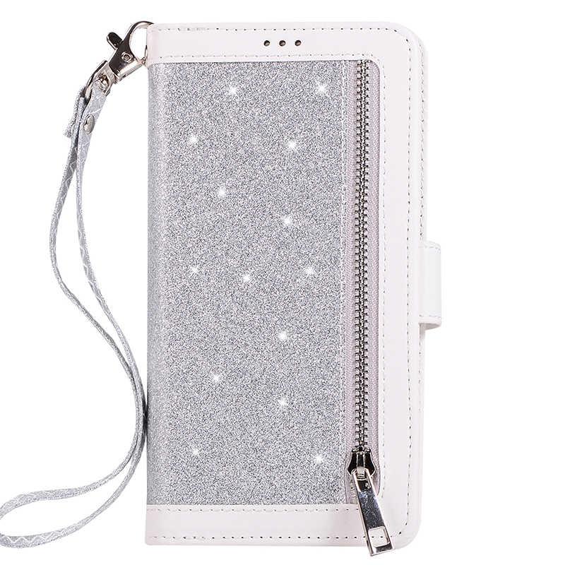 Rits Flip Leather Case Voor Iphone 11 Pro Max X 10 Xr 6 6 S 7 8 Plus Se 2020 glitter Wallet Cover Voor Iphone Xs Max Telefoon Gevallen