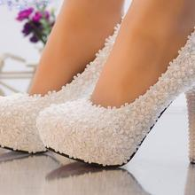Romantic super high heels white lace wedding shoes woman HS081 lace pearls bride