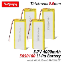 купить 3.7V 4000mAh Lipo Lithium Li-polymer Battery 5050100 For MP4 MP5 GPS Tablet DVD DVD MID PAD PDA POS machine Bluetooth Speaker по цене 326.96 рублей