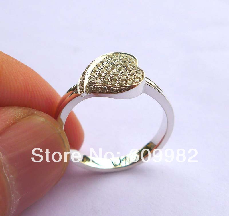 Wellmade Solid 925Sterling Silver&CZ Heart RingWellmade Solid 925Sterling Silver&CZ Heart Ring