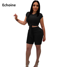 цены на Summer Women 2 Piece Set Crop Top and Shorts Slim Bodycon Lace Up Pants Set Ribbed Knitted Club Outfits Elegant Party Suit  в интернет-магазинах