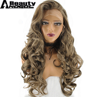 ANOGOL BEAUTY Hair Cap+High Temperature Fiber Natural Long Body Wave Dark Blonde Synthetic Lace Front Wig For Women