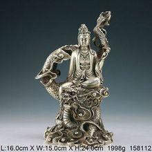 Oriental Vintage Handwork Tibet Silver Dragon Kwan-yin Statue