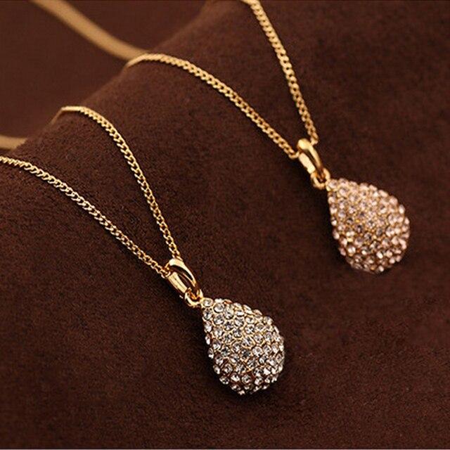 Cute Fashion lady Rhinestone Drop Pendant Necklace Silver Gold Color Necklaces &