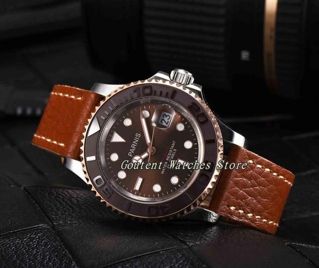 44mm Parnis Bruine wijzerplaat mannen horloges Saffier Glas Automatische Beweging Militaire Mannen Polshorloge-in Mechanische Horloges van Horloges op  Groep 2