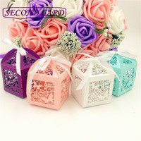 50pcs Wedding Gifts For Guests Wedding Decorations Party Supplies Kids Party Favors Butterfly Laser Cutting Chocolate Candy Box