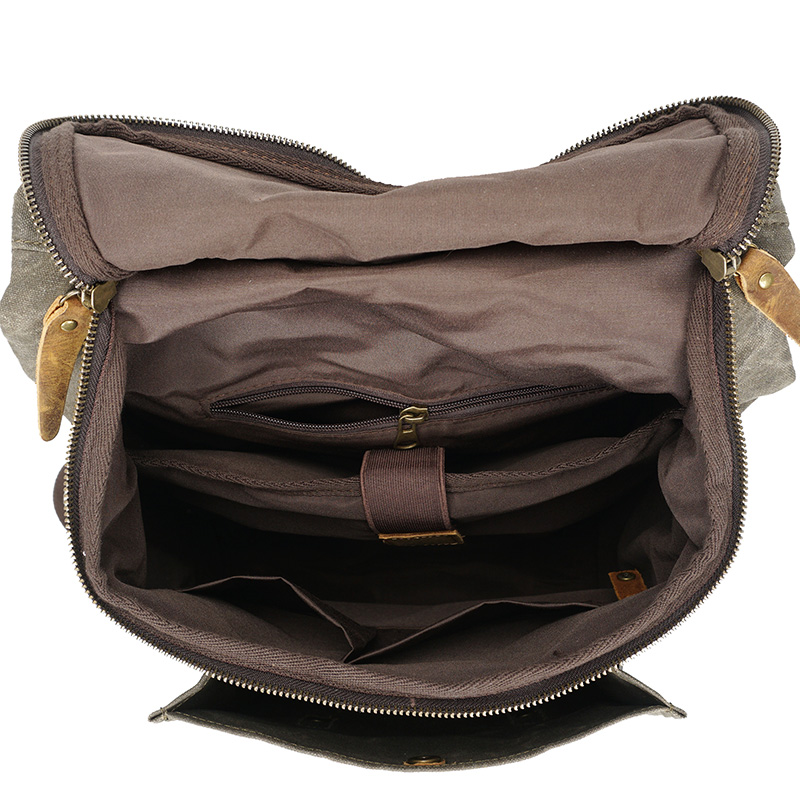 Bagaj ve Çantalar'ten Sırt Çantaları'de Erkekler Vintage yağ deri Mumlu tuval omuzdan askili çanta trend eğlence çantası edebi bilgisayar su geçirmez kadın çantası seyahat sırt çantası gelgit'da  Grup 3