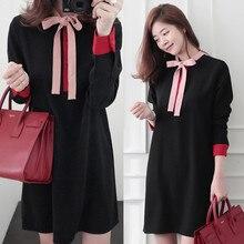5xl plus big size women clothing 2017 spring autumn winter korean vestidos bow cute sweet dress female A2726