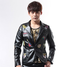 New arrivals fashion slim man singer costumes black and red pattern leather jacket outerwear stage wear performance male coat