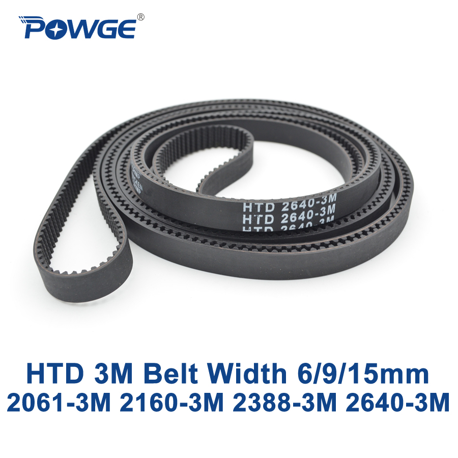 POWGE HTD 3M Timing belt C= 2061 2160 2388 2640 width 6/9/15mm Teeth 687 720 796 880 HTD3M synchronous 2061-3M 2388-3M 2640-3M