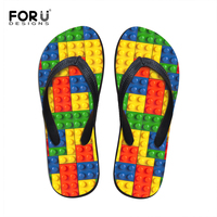 FORUDESIGNS Hot Summer Women Flat Flip Flops Colorful Lattice Style 3D Printing Comfotable Light Beach Slipper