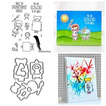 Girls Painting Metal Cutting Dies&Stamp Sillicone Stencil Scrapbook Album Embossing For Paper Card Making Handcrafts glorystar halloween coffin cutting dies stencil metal mould template for diy scrapbook album paper card making 2018