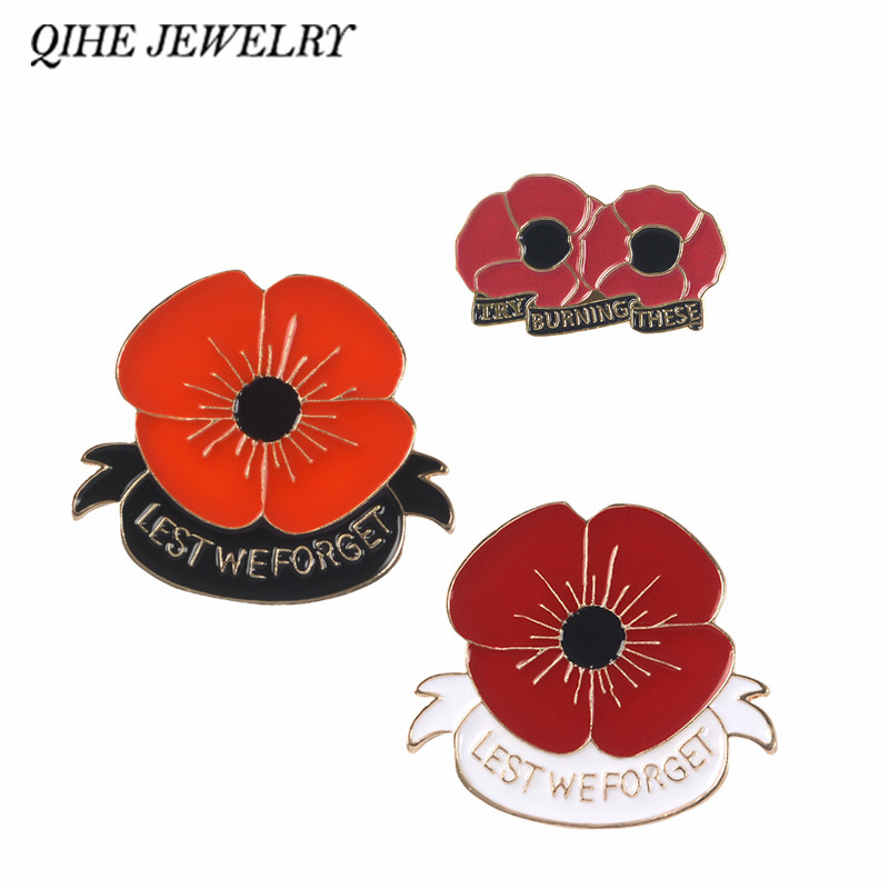 Qihe Jewelry Red Poppy Pin Remembrance Sunday Brooch Veterans Day
