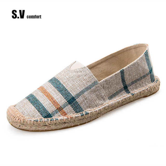 Summer Fashion Men Canvas Shoes Espadrilles Men Casual Shoes Slip On Breathable Loafers Men Flats Shoe