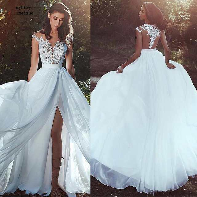 Cheap Wedding Gowns.Chiffon Jewel A Line Cheap Sexy Plus Size Wedding Dress 2019 Lace Appliques See Through Bodice Front Slit Bridal Dress Simple