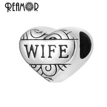 Reamor On Sale 5pcs 316l Stainless Steel Love Wife Beads Heart European Charms Beads For DIY Women Bracelets Jewelry Making(China)
