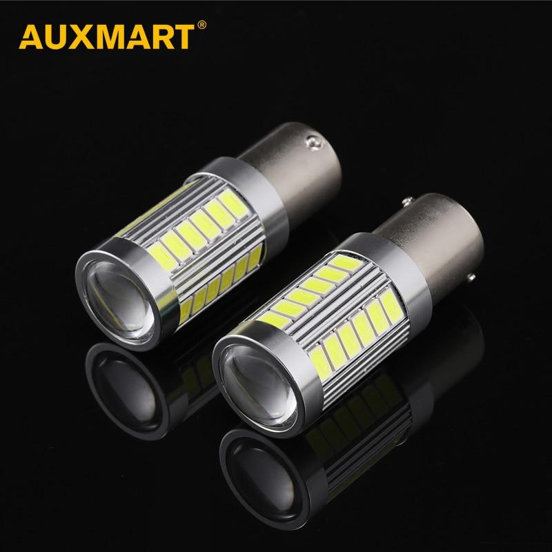 Auxmart 2pcs/set 1157 P21/5W BA15D Auto Interior Led Bulb 33SMD 6000K White DC 12V Led Car Lamps Brake Signal Bulb Stop Lights auxmart triple row led chips 12 led