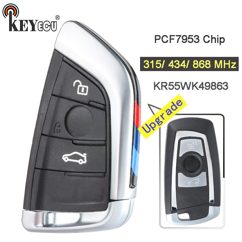 KEYECU 315/434/868MHz PCF7953 Chip CAS4+/FEM KR55WK49863 Upgraded 3 Button Remote Key Fob For BMW 1 2 3 4 5 6 7 Series X3 M2