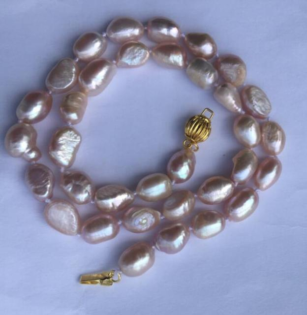 """free shipping 004412 17"""" 8-9mm lavender baroque Light Pink freshwater pearl necklace"""
