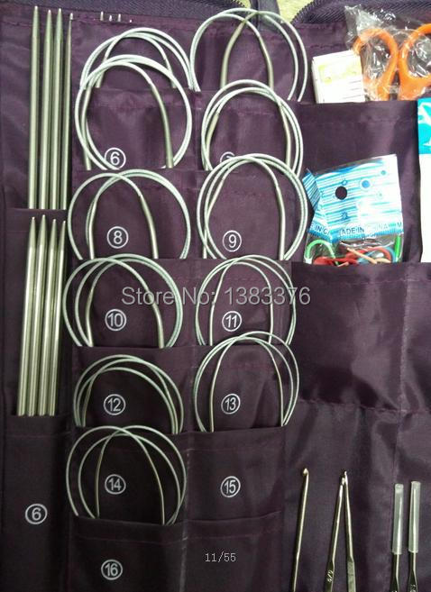 Aluminum Knitting Needle Kits Straight Needles Ring Needles Set Circular Needlework Crochet Hooks Set Hand Tool PU bag 611 in Sewing Needles from Home Garden