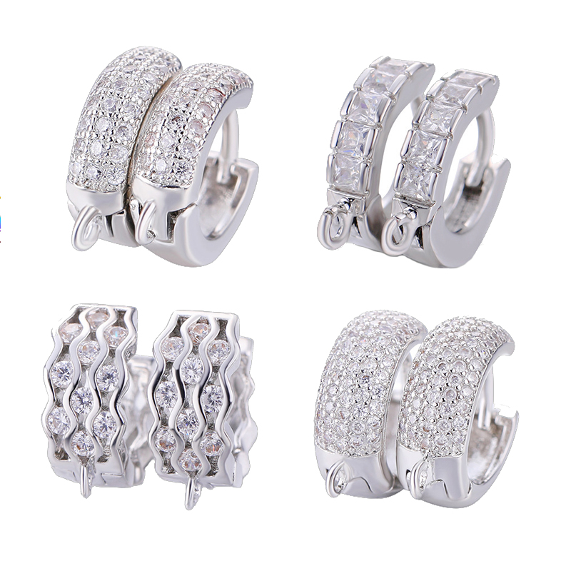 Juya Women's Wedding Jewelry Components Handmade Cubic Zirconia Earring Hooks & Clasps Accessories For Earrings Jewerly Making