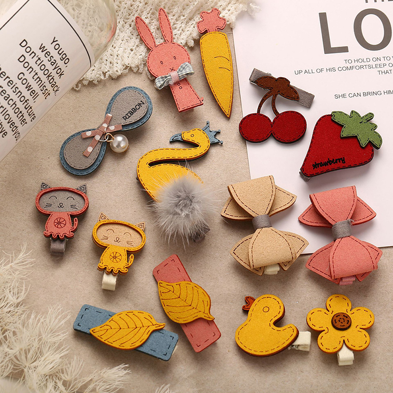 1 Pair Cute Sweet Hairgrips Hair Clip Handmade Cartoon Animal Leaves Bowknot Fruit Girls Hairpin New Year Gift Hair Accessories
