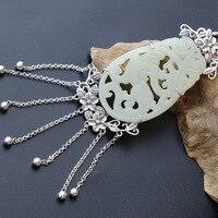 Серебряные ювелирные изделия оптовая продажа ручной работы натуральный Хотан нефрита кулон Ретро тайский серебряный S925 стерлингового сер