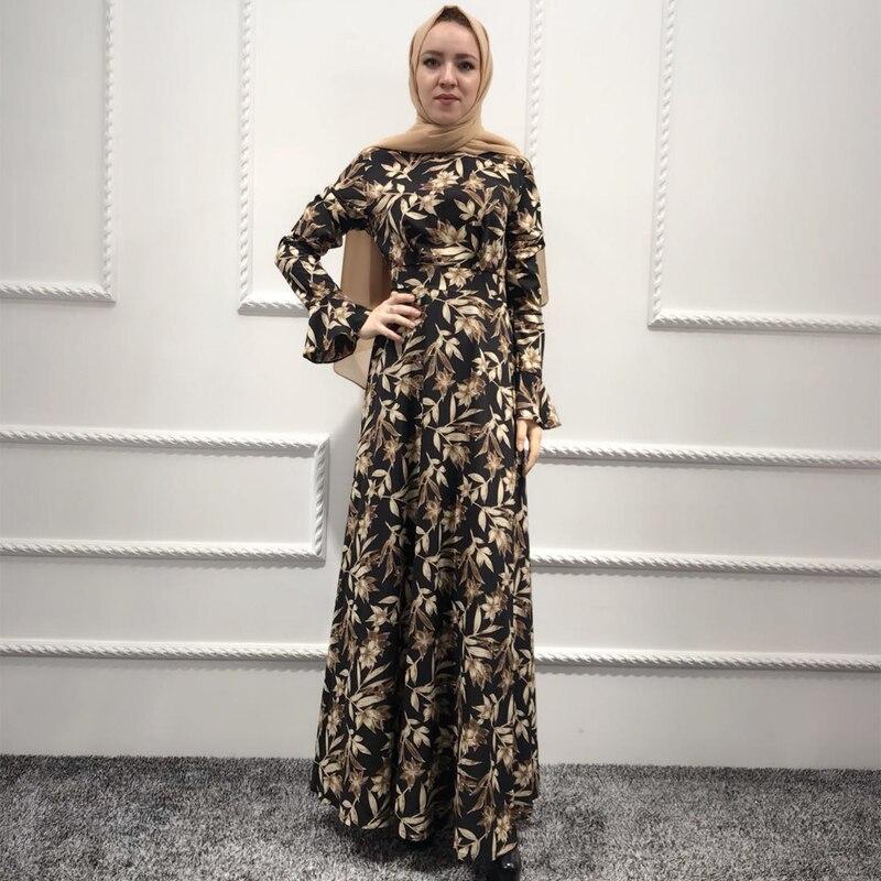 ed2a78bb5a458 Plus Size Vestidos 2019 Abaya Dubai Kaftan Crepe Long Bandage Hijab ...