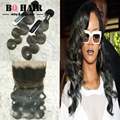 BQ HAIR Ombre Grey Color Brazilian Hair Weave Bundles with Frontal 360 Full Lace Weaving Frontal and 2 Body Wave Bundles Tissage