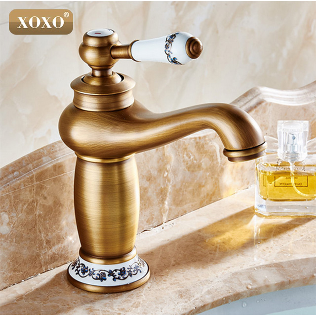 XOXO Retro Single Handle /hole Bathroom Sink Faucet mixer tap with ceramic handle, Chrome antique black gold finishing 50045BT ceramic single handle bathroom vanity sink mixer tap chrome finished
