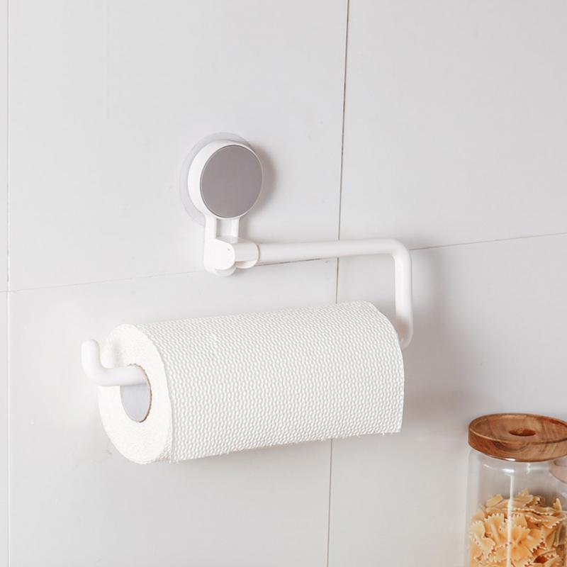 Kitchen Accessories Storage Holder Vacuum Sucker Paper Towel Rack Adhesive Bathroom Towel Shelf Wall Hanging Roll Paper Rack