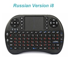 Original i8 Russian English Version Red Key 2.4GHz Mini Wireless Keyboard Air Mouse Touchpad Handheld for Android TV BOX Mini PC