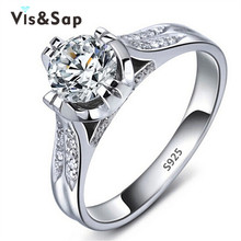 18K White gold plated ring wedding jewelry CZ diamond wholesale rings for women classic engagement accessories ODM OEM VSR075