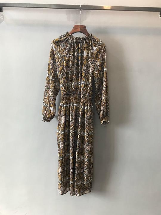 Modello Del lunghezza Vita Manicotto Dress1219 Primavera Multi Stampa Della Di All'inizio Tie Decorazione 8ztq6