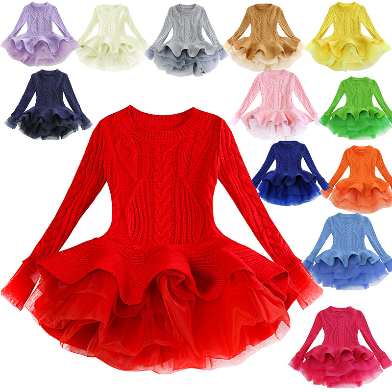 Baby Girls Winter Thick Warm Knitted Chiffon Dress Xmas Wedding Party Dress