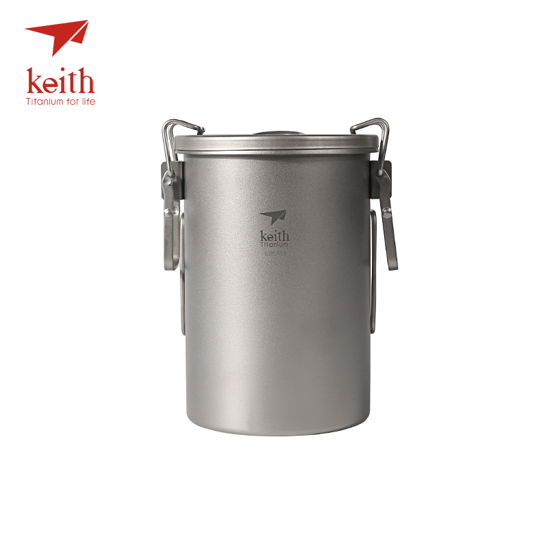 Keith Titanium Outdoor Camping Cooking Pot With Folding Handles Hiking Cooker Travel Picnic Cookware Utensils 900ml