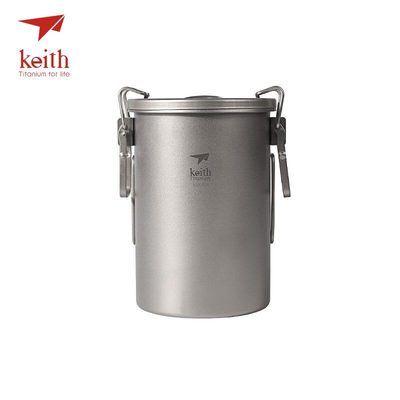 Keith Titane Camping Cuisine de Plein Air Pot Avec Poignées Rabattables Randonnée Cuisinière Voyage Ustensiles de Pique-nique vaisselle 900 ml 256g Ti6300
