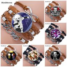 Undertale Game Video Game For Girls Gift Jewelry Multilayer Black/Brown Leather Bracelet Bangle With Glass Cabochon Jewelry