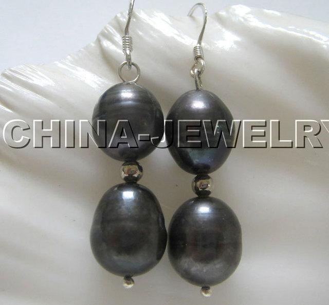 Hermosa 12mm negro barroco de la perla pendientes-plata