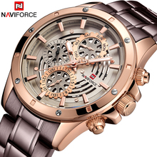 Mens Watches Top Luxury Brand NAVIFORCE Fashion Sports Waterproof 24 Hour Date Clock Men Full Steel Quartz Business Wristwatch