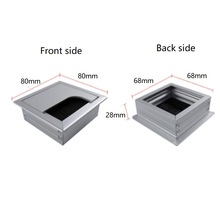 2pcs/lot 80x80mm Aluminum Alloy Table Desk Square Wire Cable Grommet Hole Cover Outlet Port